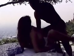Spoiled spunked classy brunette goes interracial to suck hot BBC outdoors