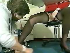 Horny bitch in stockings with nice ass gets a cunnilingus