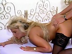 Retro blonde bends over for boning - Julia Reaves