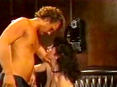 Curly brunette blows cock and gets her cunt drilled doggy style