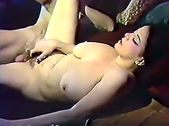 Oversexed blonde chick masturbates while watching busty whore getting fucked missionary style