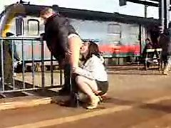 Public lezzie feminine Action on Trainstation